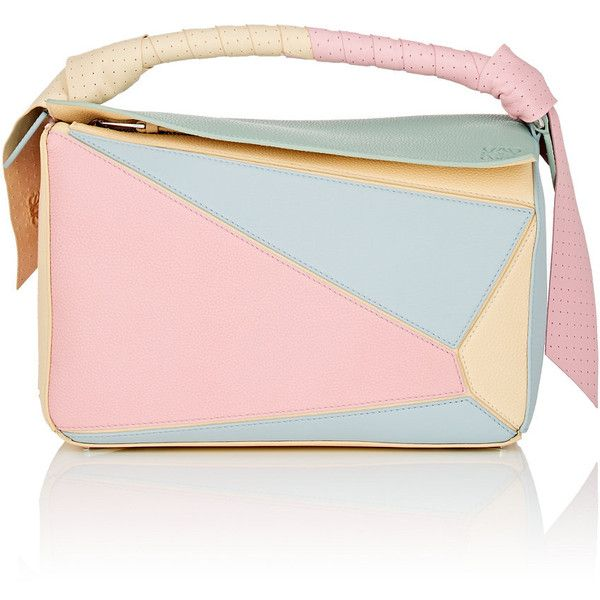 LOEWE Women's Puzzle Medium Leather Shoulder Bag (54,925 MXN) ❤ liked on Polyvore featuring bags, handbags, shoulder bags, pink, leather crossbody purse, pink crossbody, cross-body handbag, pink leather purse and pink cross body purse