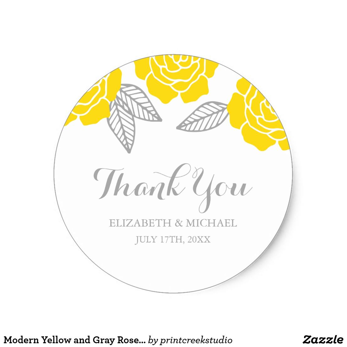 Modern Yellow and Gray Rose Wedding Thank You Classic Round Sticker ...