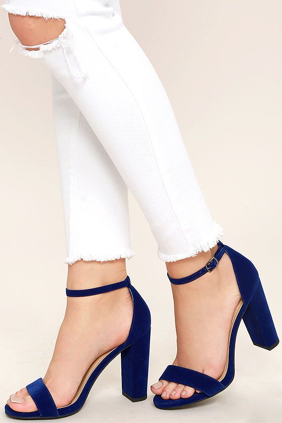 8e91d0d087 The Viviana Navy Blue Velvet Ankle Strap Heels will add extra texture to  every look!