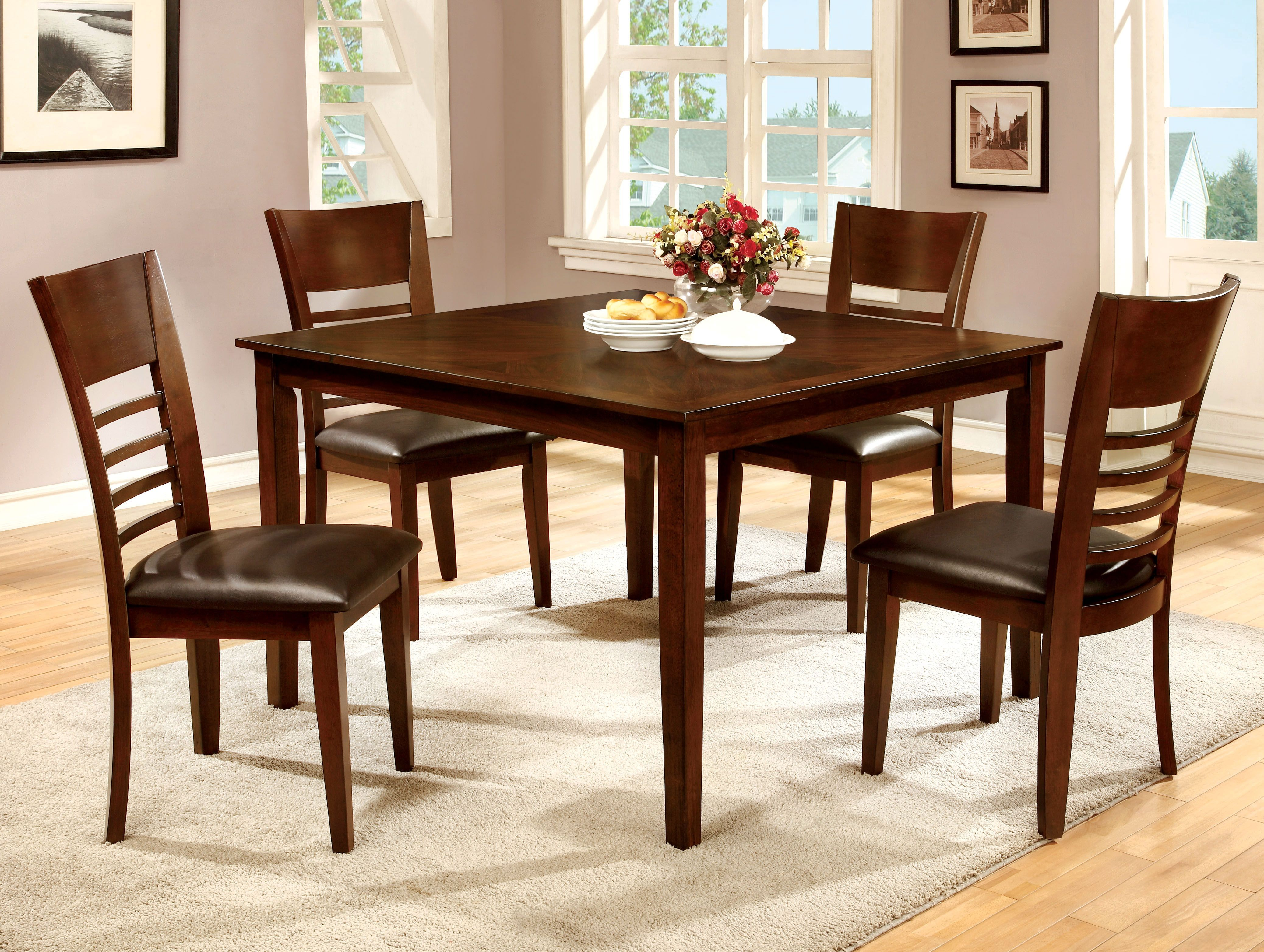 Furniture Of America Brown Cherry Nadia 5 Piece Dining Set