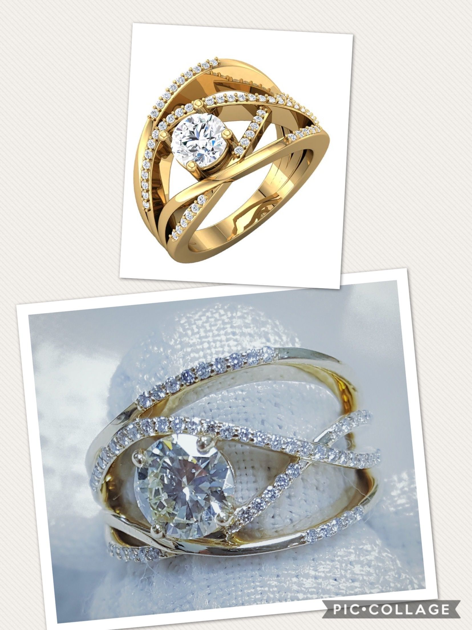 One of a kind Diamond 14 kt Yellow Gold CrissCross ring