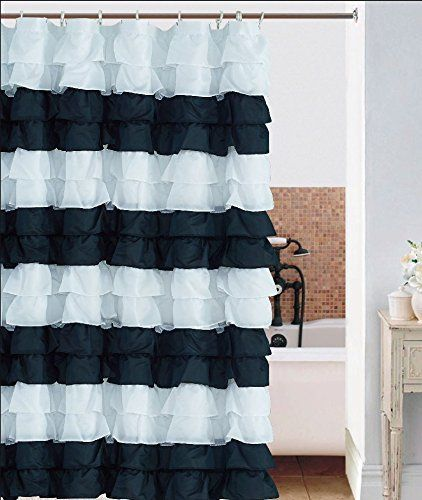 Waterfall Ruffled Fabric Shower Curtain Black White Sp Https