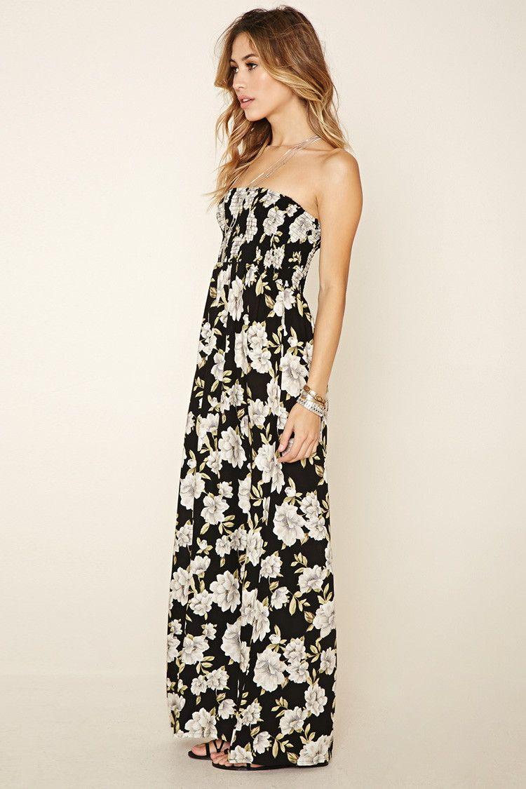 Strapless Floral Maxi Dress Forever 21 2000177727 Maxi Dress Dresses Cami Maxi Dress [ 1125 x 750 Pixel ]