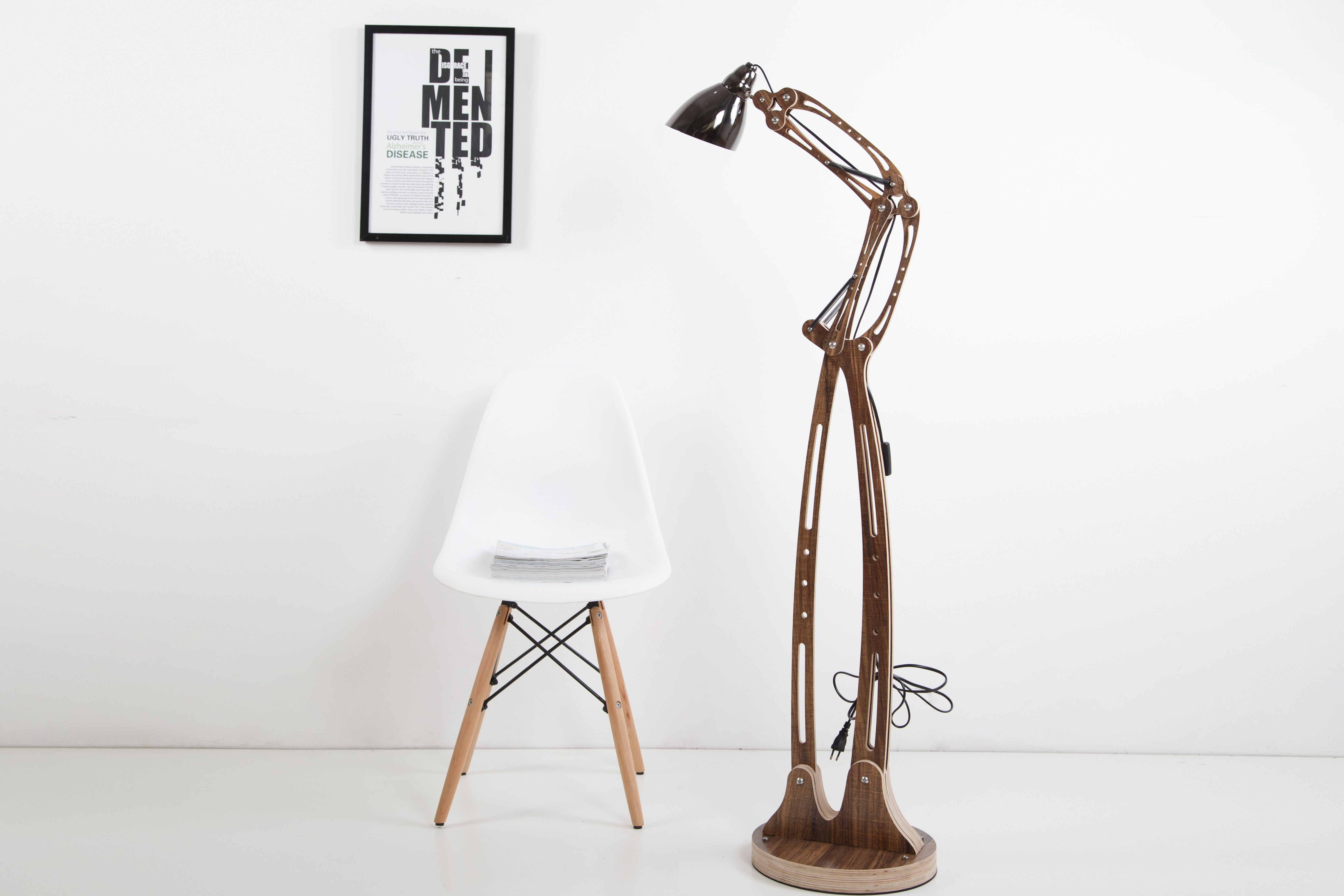 Diy Unique Flexible Arm Standard Lamp Rustic Wooden Home