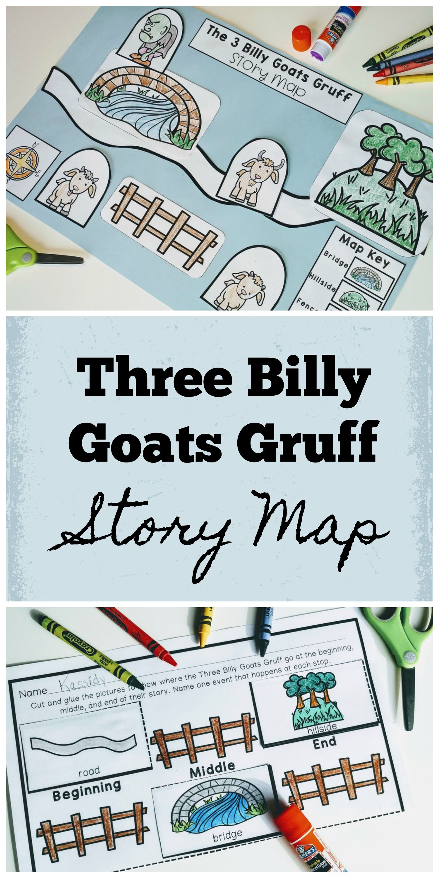 Fairy Tale Story Maps Three Billy Goats Gruff Story