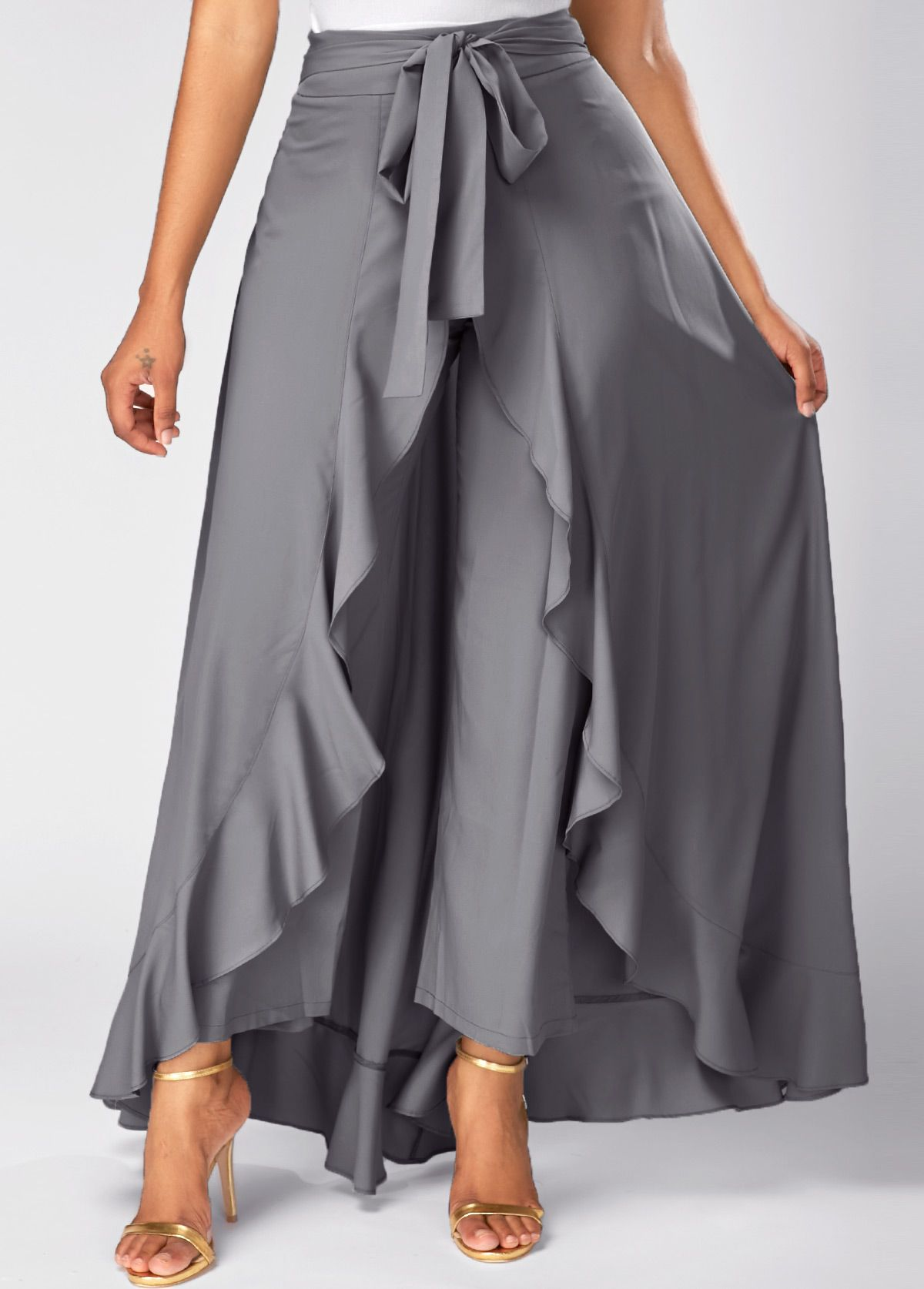 Tie Front Grey Side Zipper Overlay Pants On Sale Only Us