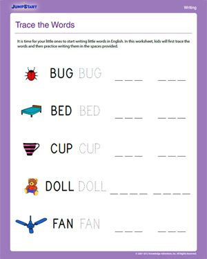 trace the words free english worksheet for kids