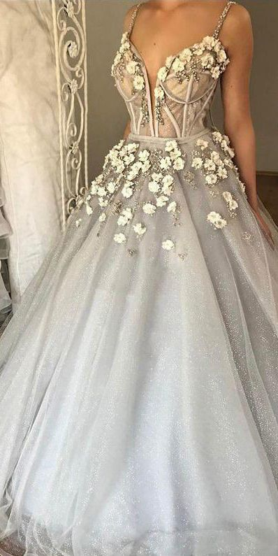 Chic Sexy Ball Gown Spaghetti Straps Floor Length Sleeveless Beading Tulle Bridal Gown Wedding Dresses OHD168