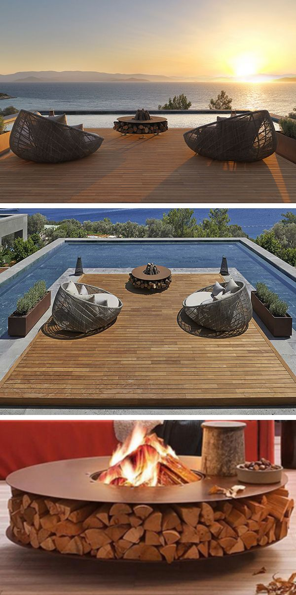 In mid-season, when cooler evenings by the pool, what is better than Zero 145 AK47 a brazier ultra design to recreate the conditions of a real campfire! #barazzi #pool #brazier #inspiration
