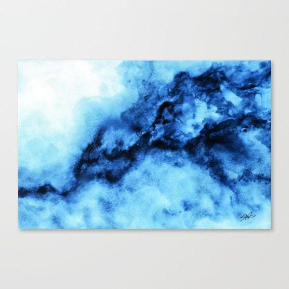 Aquarell Blaupause Wandkunst abstrakte Leinwand Kunst große ...