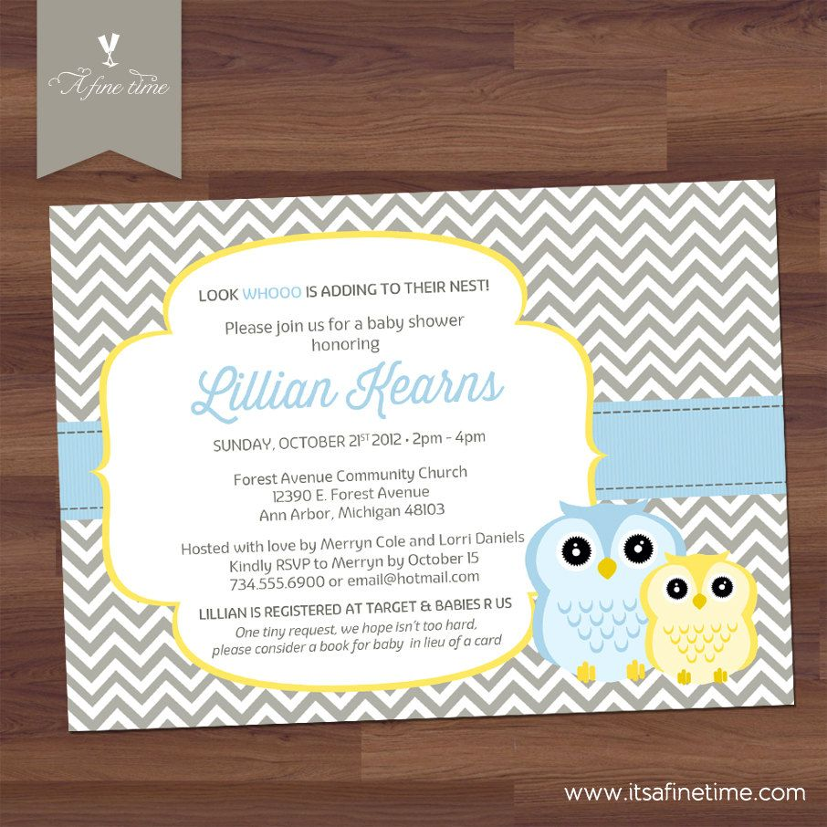 Baby Shower Invitation, Boy - Mommy and Baby Owl, \