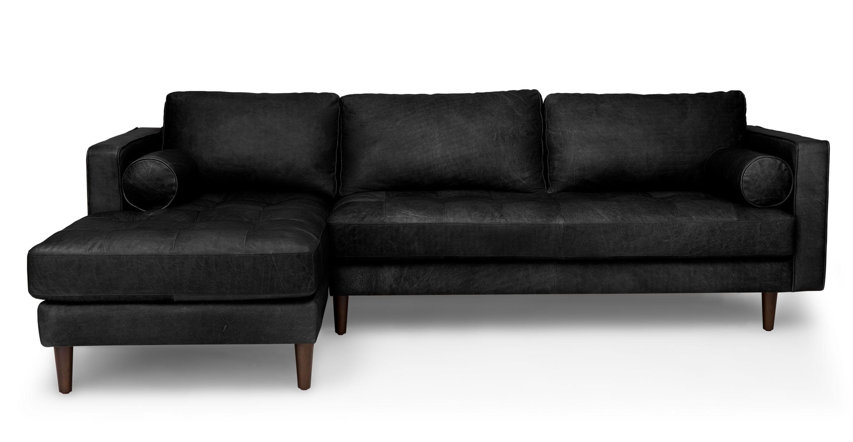 Black Leather Sectional Sofa Tufted