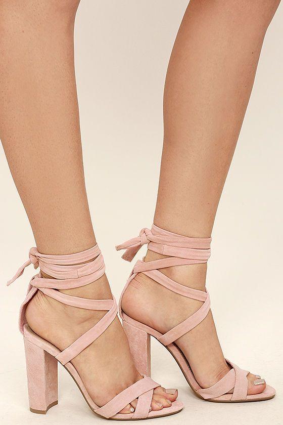 de18f86bd7db Steve Madden Christey Light Pink Suede Leather Lace-Up Heels