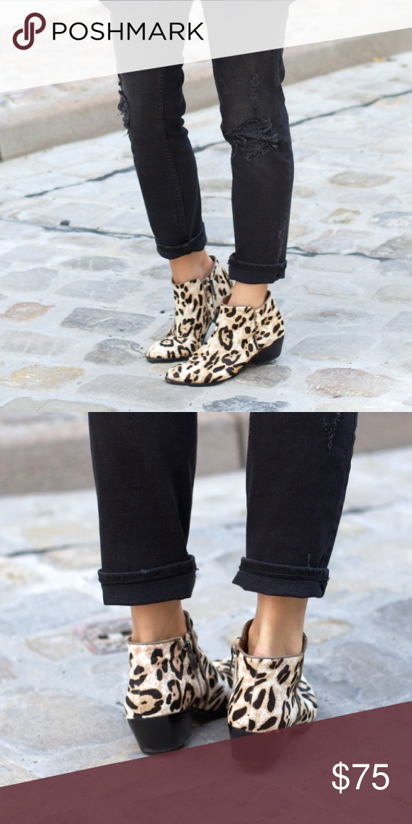 a753835654d43c sam edelman leopard petty boot ankle boots with a stacked heel and pony  hair leopard print