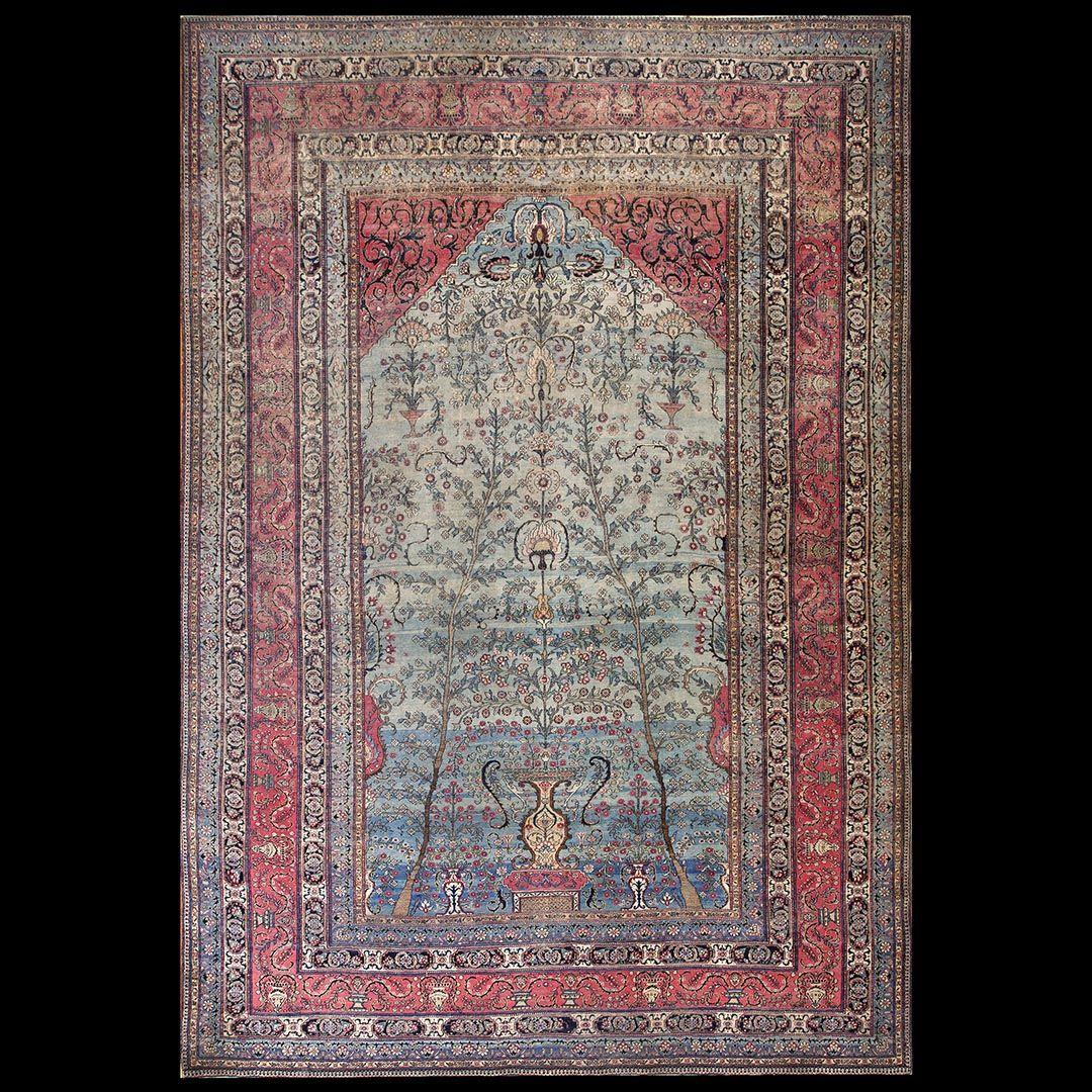 Isfahan Rug 22823 Persian Formal 9 6 X 13 10 Aqua Origin Persia Circa 1890 Antique Carpets Rugs Carpet