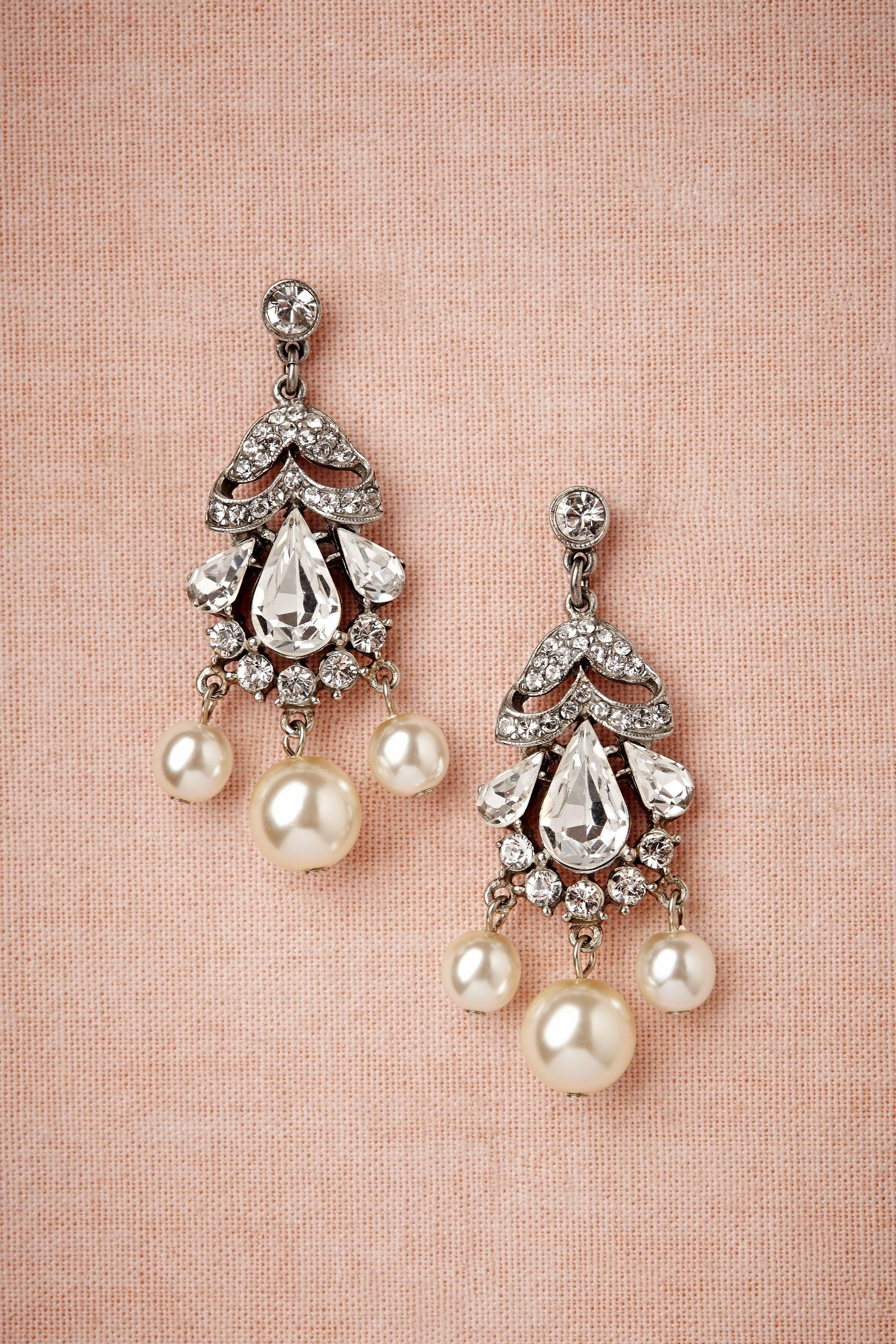 Vintage Pearl + Diamond Earrings Bhldn