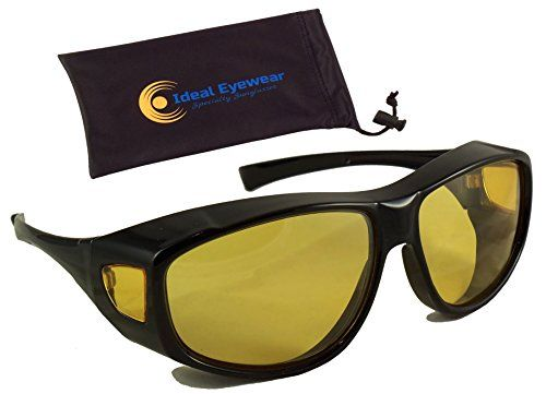 2a8453f439 Night Driving Fit Over Glasses by Ideal Eyewear Wear Over Prescription  Glasses Yellow Lens for Better