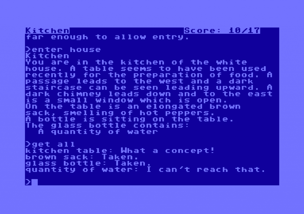 Snap of the Commodore 64 version of Zork I, a computer text