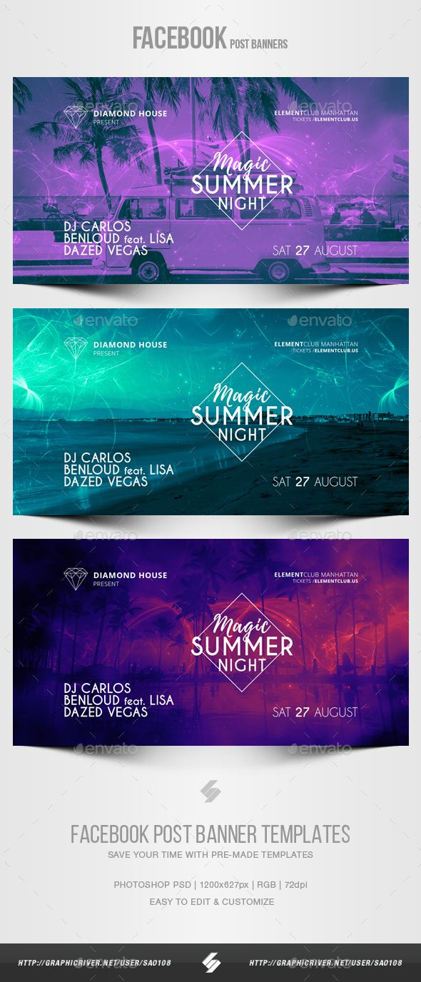 electronic music party vol 19 facebook post banner templates