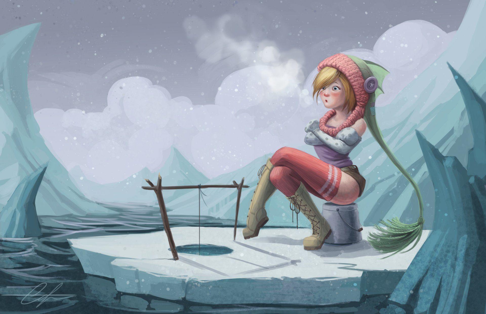 snaketoast girl frozen winter fishing do not bite snow ice floes