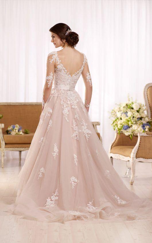 Tulle wedding dress with illusion lace sleeves   Vestidos de novia ...