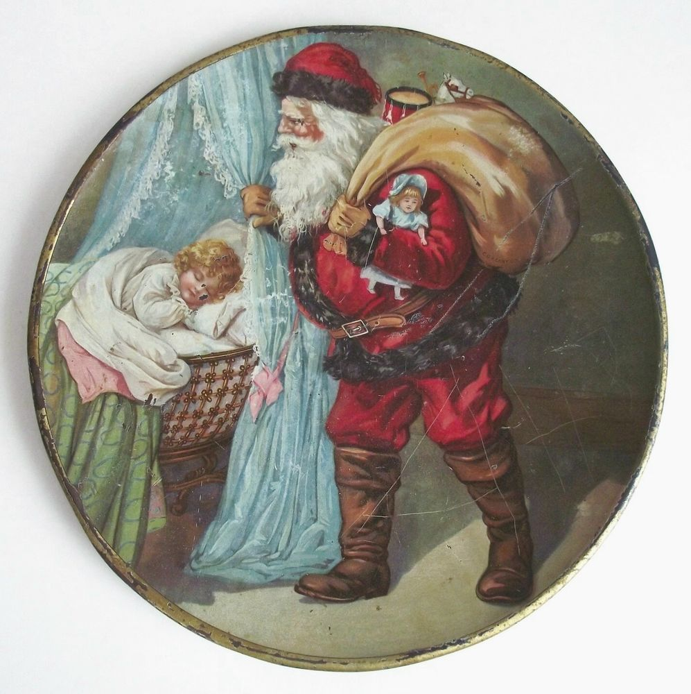 ANTIQUE C D KENNY TIN LITHO SANTA CLAUS CHILD CHRISTMAS ADVERTISING TRAY PLATE