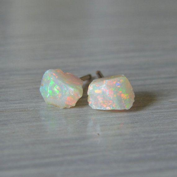 Raw Ethiopian Opal Stud Earrings