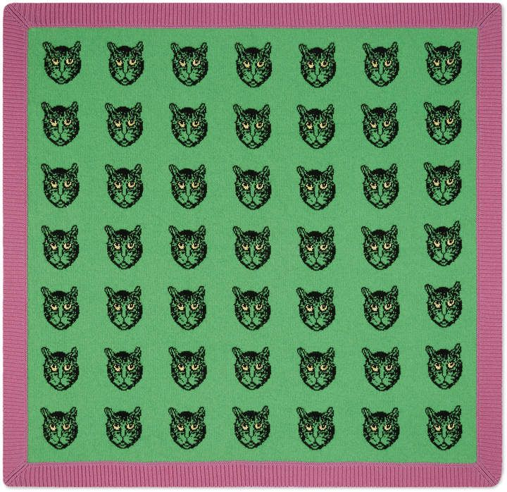 21d86506040 Mystic Cats wool baby blanket  jacquard Cats women