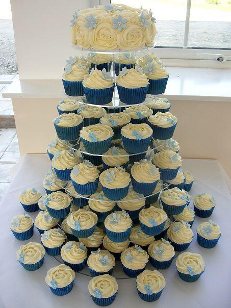 Blue Wedding Cupcake Tower