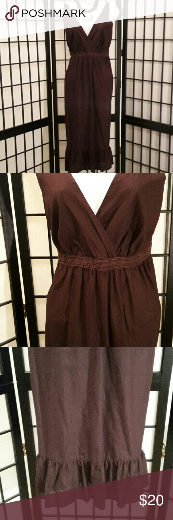 faded glory size brown aline dress dark brown ruffles