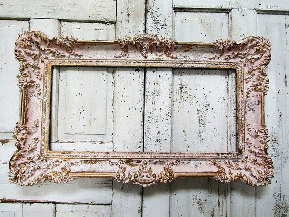 05854d1f190a Blush pink picture frame gold accented wall display white hints distressed  shabby cottage chic large wall hanging decor anita spero design