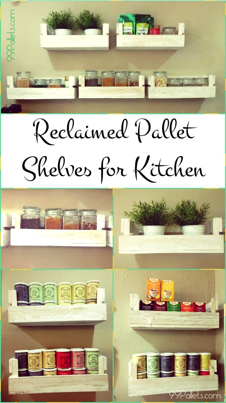 Reclaimed Pallet Shelves for Kitchen | Pallet shelves, Pallets and ...
