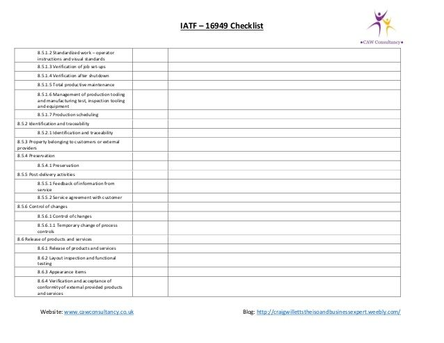 IATF 16949 gap assessment checklist iatf checklist Pinterest - audit templates free