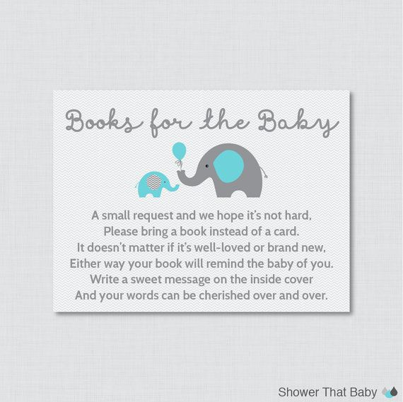 Printable Elephant Baby Shower Bring A Book Instead Of A Card Invitation  Inserts In Blue And Gray Help Build The New Babys Library By Requesting