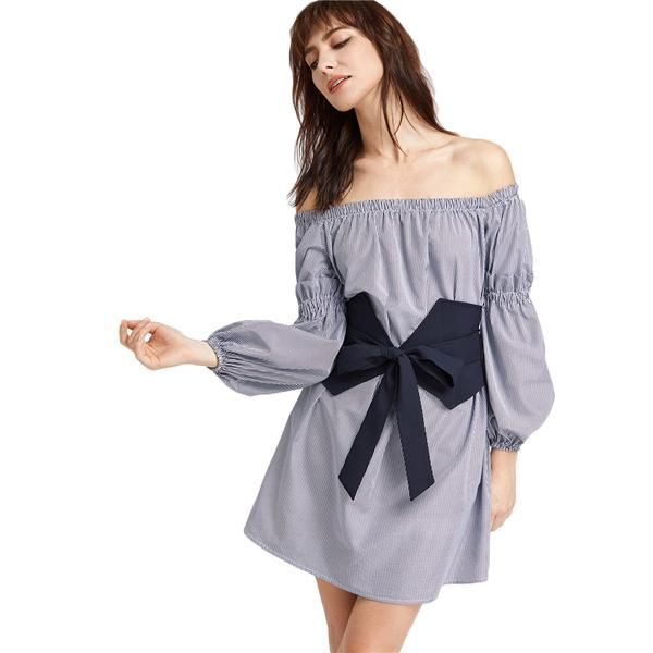 4996c4bc305 Navy Striped Long Sleeve Off The Shoulder Dress With Wide Belt