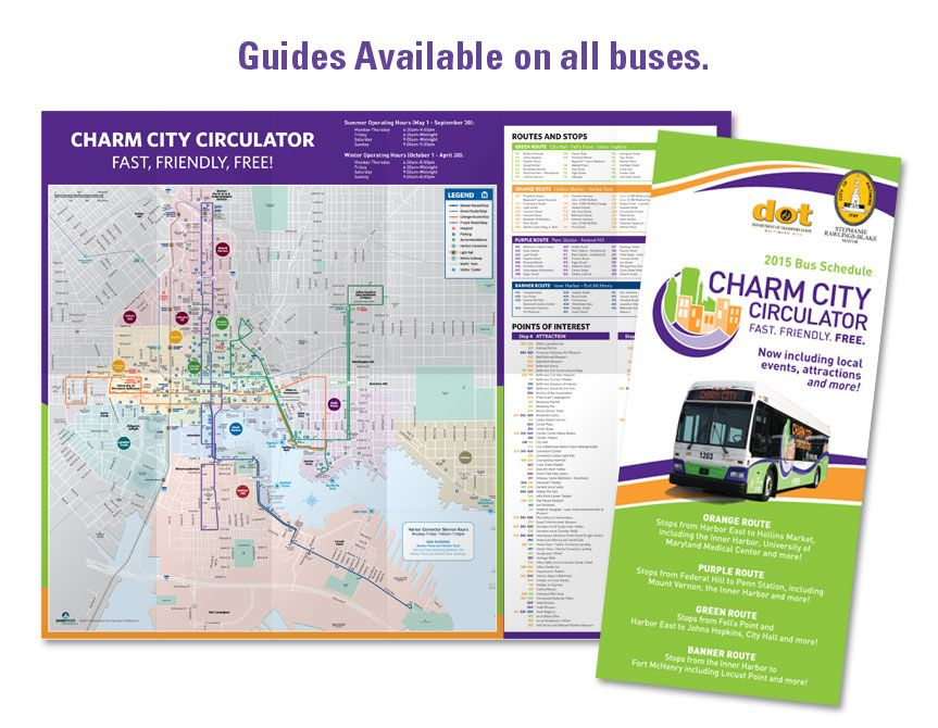 Charm City Circulator Guides And Brochures The Circulator Guide Has Information On All The Service Has To Offer Including Routes Stop L Baltimore