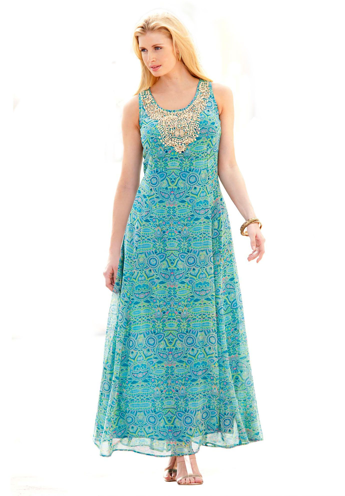 Print Maxi Dress With Necklace Pattern Plus Size Casual Dresses