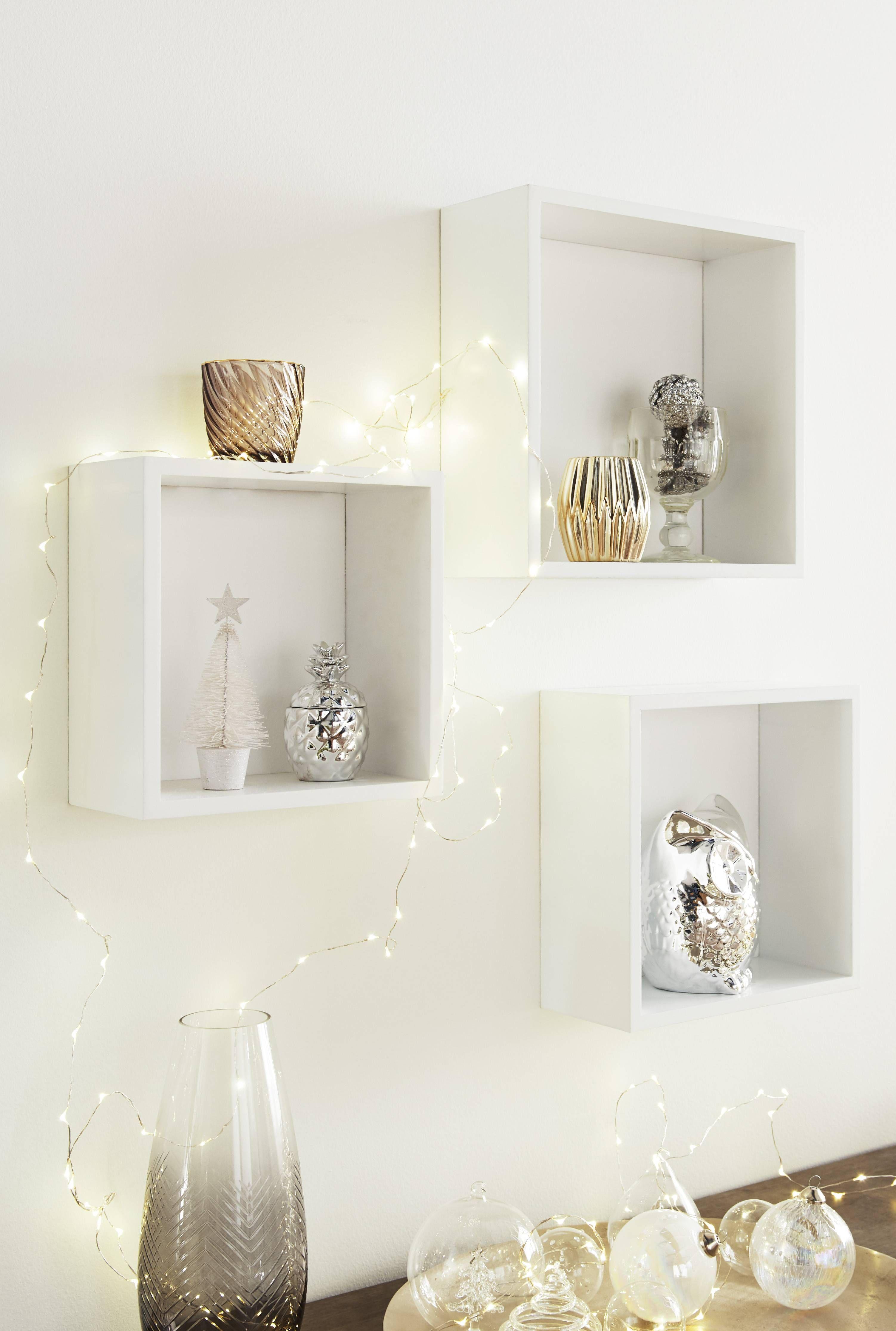 Comment Accrocher Une Guirlande Lumineuse Au Mur set de 3 étagères cubes shelvy blanc en 2020 | deco murale