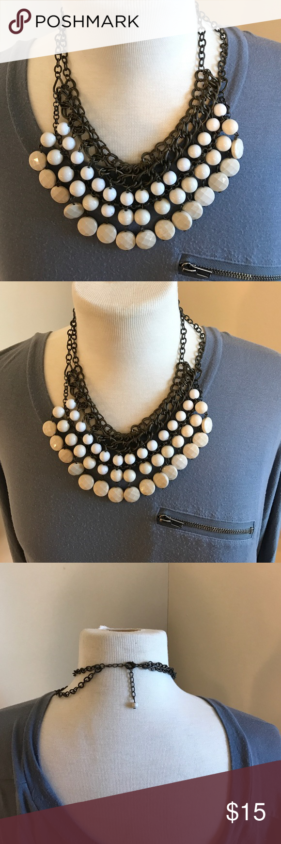 Charming Charlie White Bead Necklace Great condition worn only a few times no loose stones Charming Charlie Jewelry Necklaces