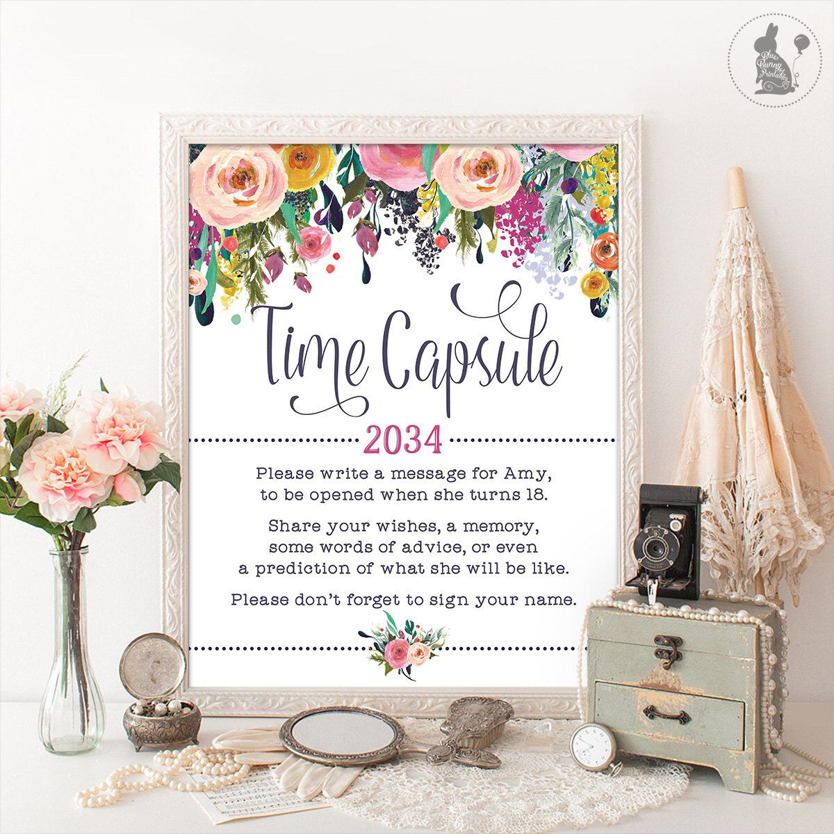 Time Capsule Floral Baby Shower Table Sign Decoration Girls First Birthday Decor Cottage Chic