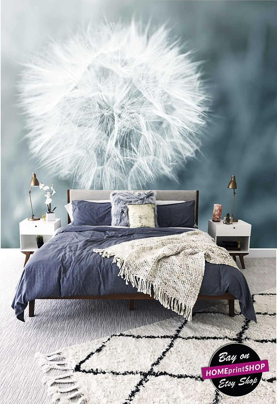 Dandelion floral - white wall paper - wall art decor - Removable ...