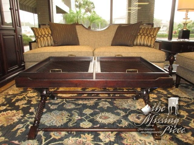 Beautiful dark wood coffee table with two lift off trays Love the