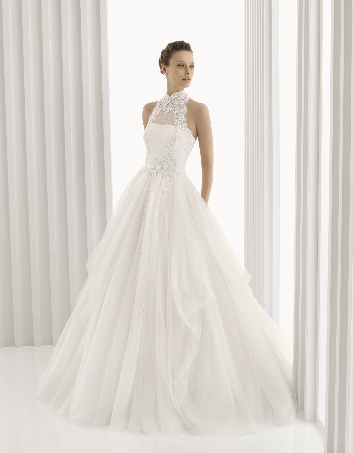 Romantic full a-line Rosa Clara bridal gown with high neck lace ...