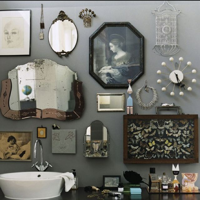 Bathroom Decorating Ideas Grey Walls vintage finds gallery wall | home: details | pinterest | gallery