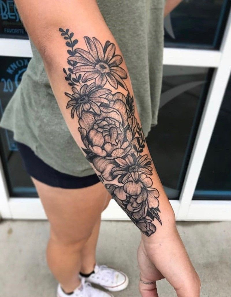 Floral tattoo #floral #tattoo #forearm #sleeve #ink
