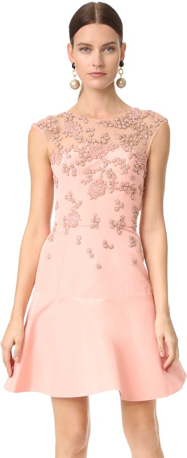 Monique Lhuillier Cap Sleeve Illusion Dress with Embroidery ...