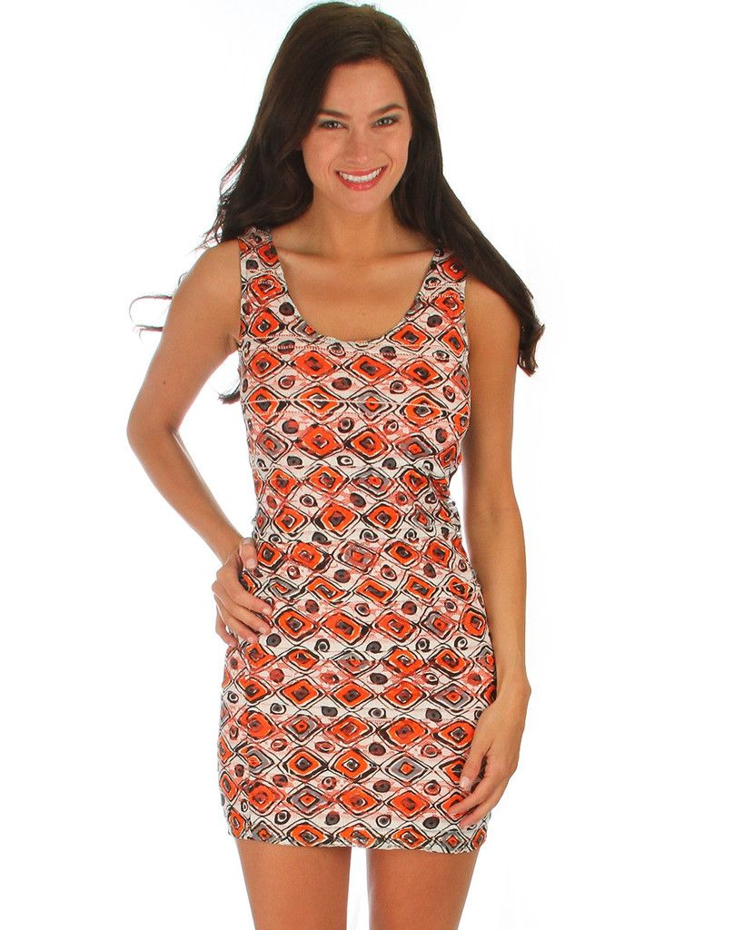 Printed Ruffle Dress w/ Cage Back