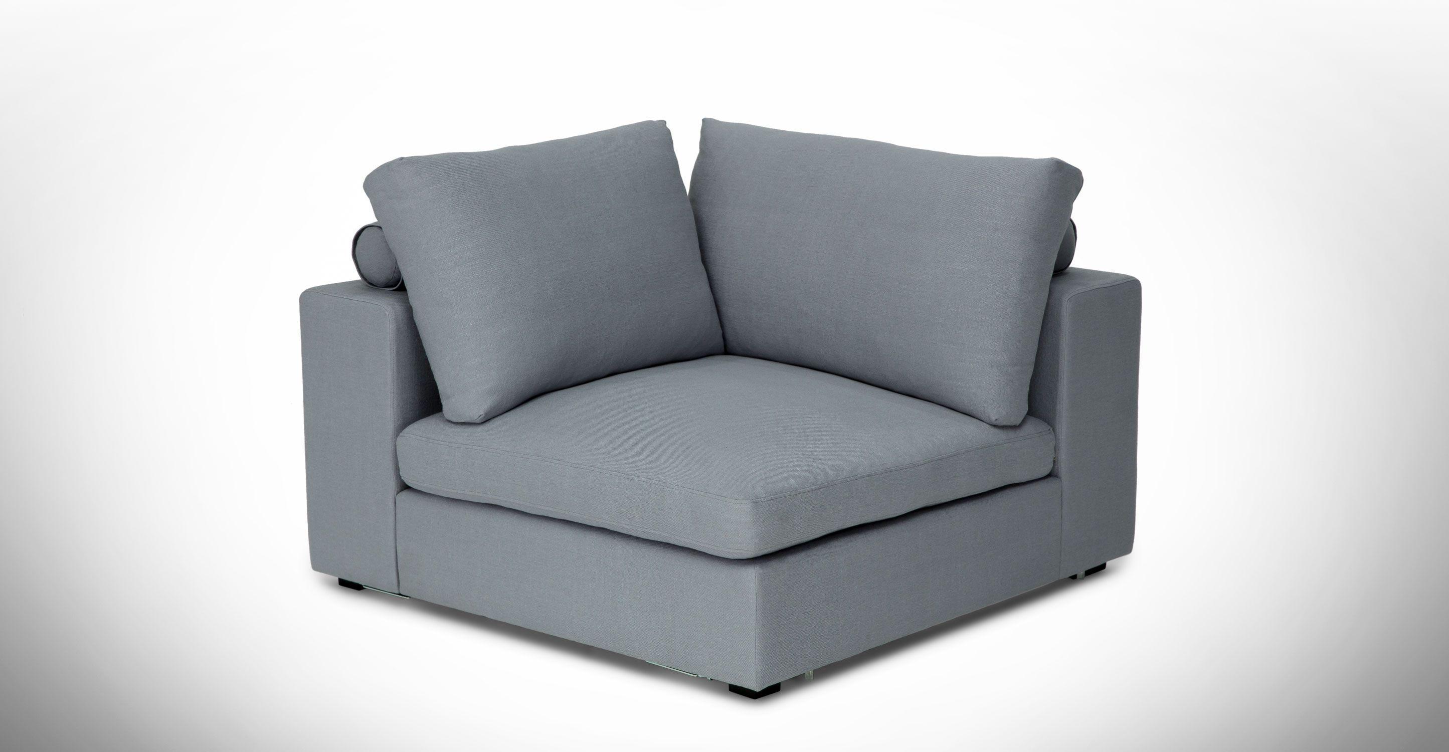 Light Blue Modular Corner Chair Upholstered