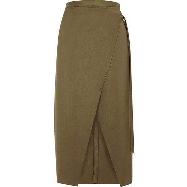 River Island Khaki green wrap ring detail midi skirt (€59 ...
