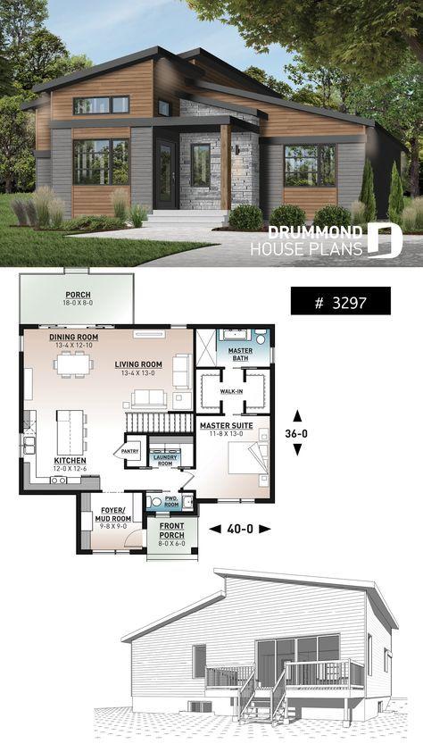 1 bedroom modern mid-century house plan with open floor plan, economical home, u...